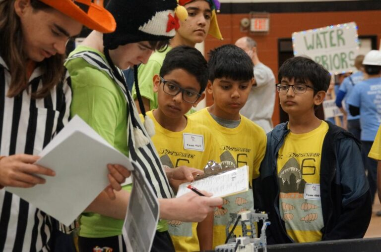 Referees at the FIRST Lego League Regional Meet at Westwood High School, 2020
